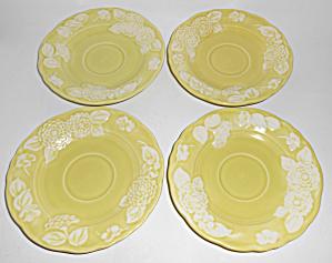 Metlox Pottery Poppy Trail Flora Lace Set/4 Saucers! (Image1)