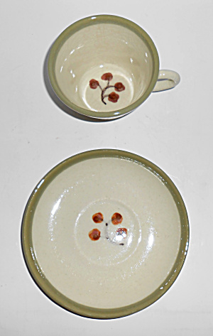 Winfield China Pottery Early Floral Cup/saucer Mint