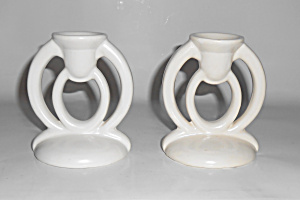 Bauer Pottery Cal-Art #520 White Very Rare Candlesticks (Image1)