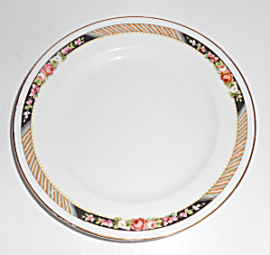 Carrolton China Floral w/Stripes Bread Plate!  (Image1)