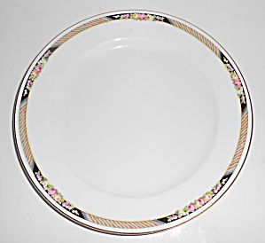 Carrolton China Floral w/Stripes Dinner Plate!  (Image1)
