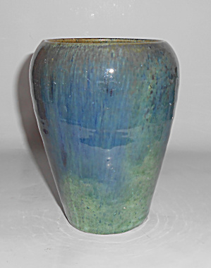 North State Pottery Early Wheel Thrown Blue/Green Vase! (Image1)