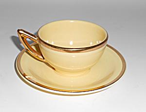 Santa Anita Pottery Yellow W/Gold Demi Cup/Saucer! MINT (Image1)