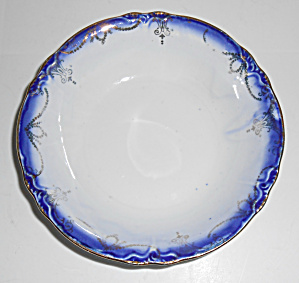 Flow Blue Imperial China Fruit Bowl With Gold Decoratio