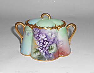 Haviland China Violet W/Gold Decorated Sugar Bowl! MINT (Image1)