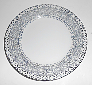 Kutani China Porcelain Platinum Decorated Bread Plate!  (Image1)