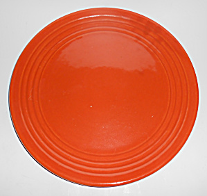 Bauer Pottery Ring Ware 1st Period Orange Chop Plate