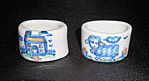 M A Hadley Pottery Pr Blue/White Decorated Napkin Rings (Image1)