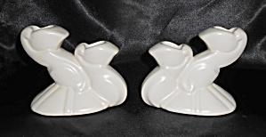 Bauer Pottery Cal-art Ray Murray White Candlesticks