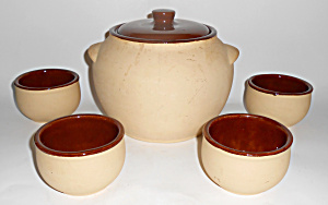 Watt Pottery Bisque W/brown 5-pc Bean Pot Set Mint