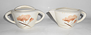 Winfield China Pottery Pink Floral Creamer/Sugar Set! (Image1)