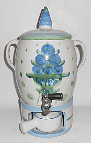 Hadley Pottery Blue/White Bouquet 4-Pc Coffee Urn Set! (Image1)