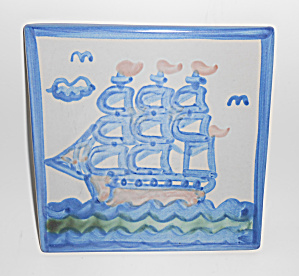 M A Hadley Pottery Blue/White Sailing Ship Tile! MINT (Image1)