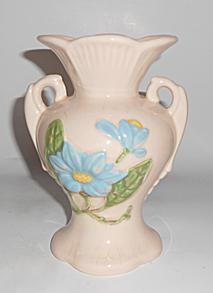 Hull Pottery Classic Pink W/blue 2 Handle Vase