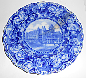 England Flow Blue China Washington Hotel Seattle Plate! (Image1)