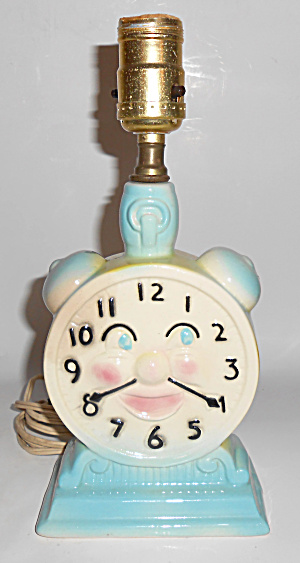 Vintage Child's Smiling Face Clock Pottery Lamp