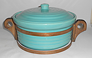 Bauer Pottery Ring Ware Large Jade Casserole W/rack