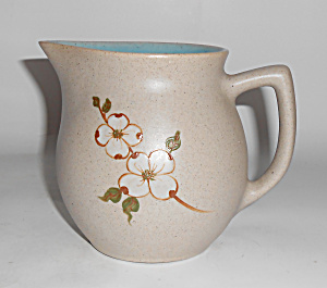 Pigeon Forge Pottery White Dogwood Decorated Pitcher