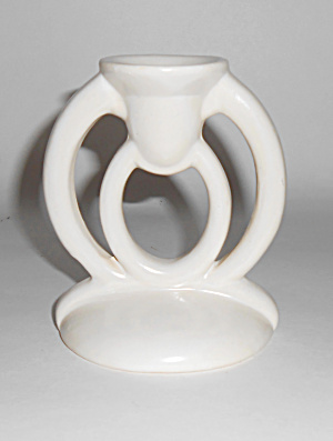 Bauer Pottery Cal-art #520 White Very Rare Candlestick
