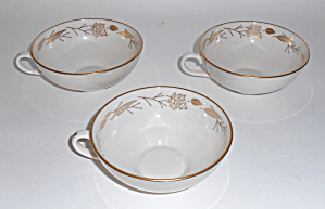 Franciscan Pottery Gold Leaves Fine China Set/3 Cups