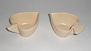 Caliente Pottery Heart & Spade Ivory Creamers Mint