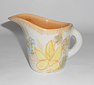 Winfield China Pottery Early Floral Decorated Creamer