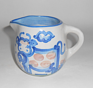M A Hadley Pottery Milk Cow W/bell Decorated Pitcher