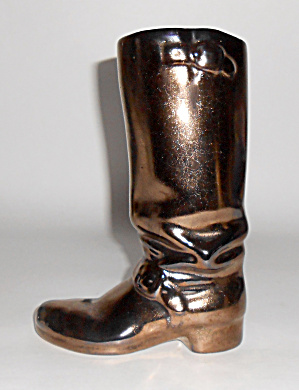 Rosemeade Pottery Black Metallic Cowboy Boot Vase Mint