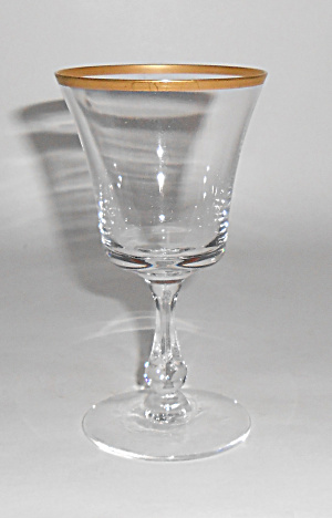 Franciscan / Tiffin Crystal Riviera Gold Wine Glass!  (Image1)