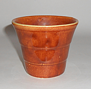 Bauer Pottery 4in Red/brown Banded Flower Pot Mint