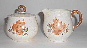 Metlox Pottery Woodland Gold Creamer/sugar Bowl Set