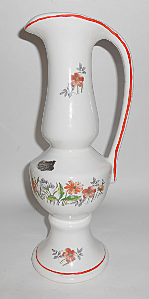 California Originals Tall Floral Decorated Pitcher W/st