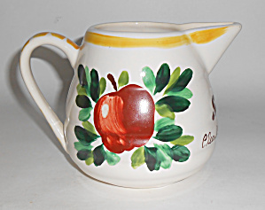 Bauer Pottery Fruit Decorated Gpk Pitcher Mint