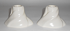 Franciscan Catalina Pottery Floral Ivory Candlesticks