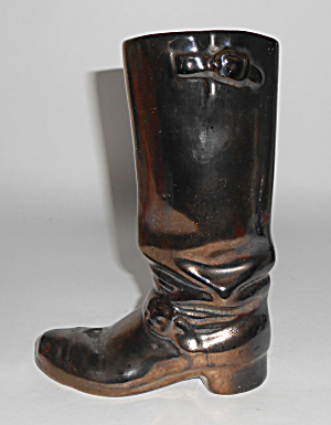Rosemeade Pottery Black Metallic Cowboy Boot Vase
