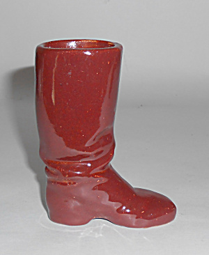 Rosemeade Pottery Red/brown Cowboy Boot Vase/planter