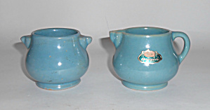 Rosemeade Pottery Green Demi Creamer/sugar Bowl Set