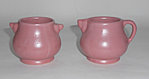 Rosemeade Pottery Dusty Rose Demi Creamer/sugar Bowl