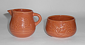 Rosemeade Pottery Carved Horse Demi Creamer/sugar Bowl