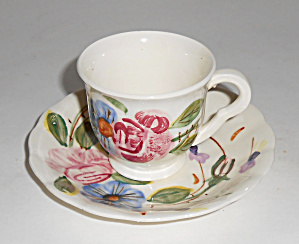 Blue Ridge Pottery Floral Demitasse Cup/saucer Set