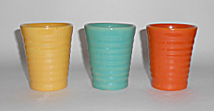 Bauer Pottery Ring Ware Set/3 Tumblers