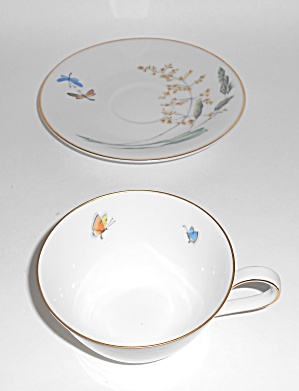 H & Co Heinrich Porcelain Butterfly Gold Cup/saucer Set