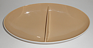 Franciscan Pottery Fan Tan Divided Vegetable Bowl Mint