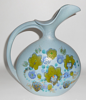 Sascha Brastoff Pottery Floral Decorated Large Pitcher