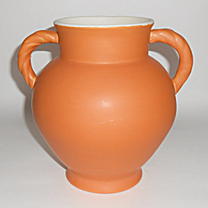 Coors Pottery Berthoud Orange/white Vase Mint