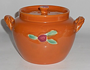 Coors Pottery Rosebud Orange Utility Jar W/lid Mint