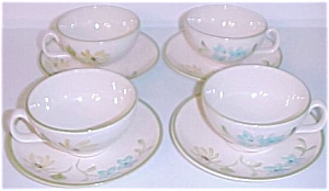 Franciscan Pottery 4 Sets Daisy Cups/saucers