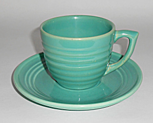 Bauer Pottery Ring Ware Jade Coffee Cup/saucer Mint
