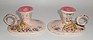Hull Art Pottery Pair Blossom Flite Candlesticks Mint