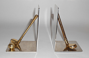 Vintage Brass Golf Bookend Set